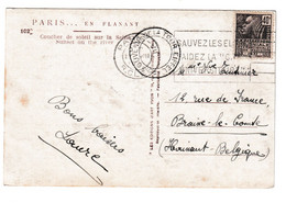Tour Eiffel Postmark On Paris En Flanant Postcard Posted 193? B210410 - Brieven En Documenten