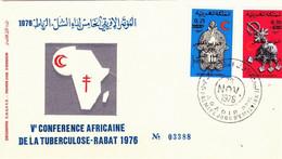 Maroc 1er Jour FDC YT 781/782 Fibules Conférence Tuberculose (surcharge)  Agadir 28/01/76. - Morocco (1956-...)