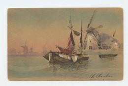 Illustrateur, Art Sign Pc. LANDSCAPE , Boats And Windmill ( 2 Scans ) - Other Illustrators
