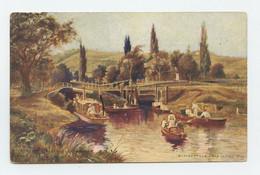 Illustrateur, Art Sign Pc. LANDSCAPE , Boats In River  ( 2 Scans ) - Other Illustrators