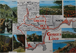 Carte Géographique Geographic Map Circuit Des Gorges Du LOUP Gourdon Bramafan Cagnes Tourette Villeneuve Loubet Opio - Maps