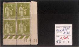 D - [816650]TB//**/Mnh-France 1932 - N° 284A, 75c Olive, Paix, 17.3.37, BD4, Cdf Daté - 1930-1939