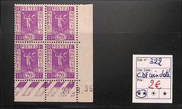D - [816663]TB//**/Mnh-France 1936 - N° 322, 20c Exposition Coloniale De Paris, 21.8.36, BD4, Cdf Daté - 1930-1939