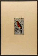 BIRDS MALI 1960 100f, 200f & 500f Air Sunken IMPERF DIE PROOFS Printed In The Issued Colours On Ungummed Card (Yvert 2/4 - Non Classificati
