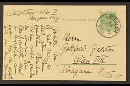 MUSIC FELIX VON WEINGARTNER. 1908 (15 Jan) Austrian 5h Postal Card Posted Locally Within Vienna, Addressed With Message  - Non Classificati