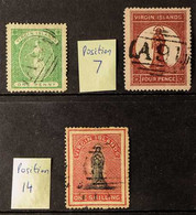 1867-1868 USED GROUP Includes 1867-70 1d Yellow-green SG 12 (one Short Perf) & 4d Lake-red Position 7 SG 15 (small Thins - British Virgin Islands
