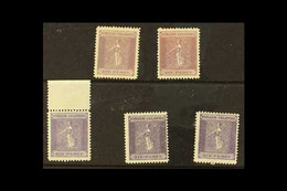 1887-89 6d Dull Violet Positions 17 And 24, 6d Deep Violet Positions 2, 11 And 17, SG 38/39, Fine Mint. (5 Stamps) For M - British Virgin Islands