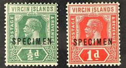 """1921 ½ Green And 1d Scarlet And Deep Carmine, Die II, Ovptd """"Specimen"""", SG 80s/81s, Very Fine Mint. (2 Stamps) For More  - British Virgin Islands"""