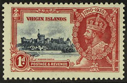 """1935 1d Blue And Scarlet Silver Jubilee, Variety """"Kite And Vertical Log"""", SG 103k, Fine Mint. For More Images, Please Vi - British Virgin Islands"""