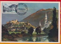 CM-Carte Maximum Card #1954-France # Tourisme # Panorama # Basilique,Basilica Of Lourdes ,Château,castle # Obl. Lourdes - 1950-59