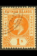 1902-03 1s Orange Wmk Crown CA, SG 7, Very Fine Used. For More Images, Please Visit Http://www.sandafayre.com/itemdetail - Cayman Islands