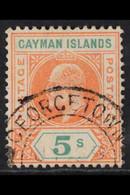 "1907 5s Salmon & Green, SG 16, Full Perfs, ""Georgetown"" Cds, Fine Used. For More Images, Please Visit Http://www.sandafa - Iles Caïmans"