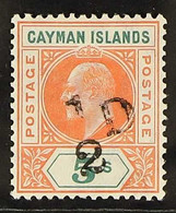 1907 Handstamped ½d On 5s Salmon And Green, SG 18, Very Fine Mint, Extremely Lightly Hinged. Lovely! For More Images, Pl - Cayman Islands