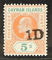 1907 Handstamped 1d On 5s Salmon And Green, SG 19, Very Fine Mint, Extremely Lightly Hinged.A Gem! For More Images, Ple - Cayman Islands