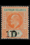 1907 KEVII 1d On 5s Salmon & Green Surcharge, SG 19, Very Fine Mint. For More Images, Please Visit Http://www.sandafayre - Cayman Islands