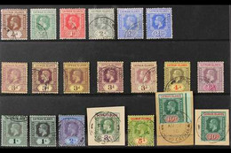 1912-20 KGV MCA Wmk Used Collection On A Stock Card That Includes A Complete Set (SG 40/52b) Plus Listed Additional Shad - Cayman Islands