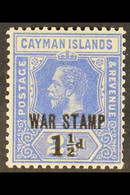 """1917 (Sep) 1½d On 2½d Deep Blue """"War Stamp"""" Surcharge Type 16, SG 55, Fine Mint, A Few Shortish Perfs At Lower Right Not - Cayman Islands"""