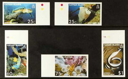 2006 IMPERF PROOFS Aquatic Treasures Set, SG 1098/1102,IMPERF PROOFS On Gummed CA Wmk (Upright Or Sideways) Paper, From - Iles Caïmans