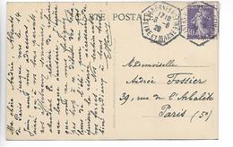 VARENNES SUR SEINE Seine Et Marne CAD Recette Auxiliaire Sur 40c Semeuse 1928 Cpa église       ..G - 1921-1960: Modern Period