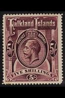 1912 5s Maroon, Wmk MCA, Geo V, SG 67b, Fine Mint. For More Images, Please Visit Http://www.sandafayre.com/itemdetails.a - Islas Malvinas