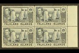 1938 2s.6d Slate Penguins, SG 160, Superb Never Hinged Mint Marginal Block Of Four. For More Images, Please Visit Http: - Islas Malvinas