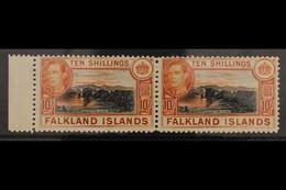 1938-50 10s Black And Red Orange On Greyish Paper, SG 162b, Superb Never Hinged Mint Marginal Horizontal Pair. For More  - Islas Malvinas