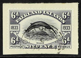 SOUTH GEORGIA 1933 6d Black And Slate, Centenary, Tied To Piece By South Georgia Cds, SG Z60, Very Fine Used. For More I - Islas Malvinas