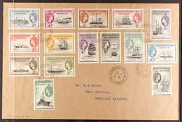 "1954 Ships Definitives Complete Set (SGG26/40) Superb Used On Cover Tied By ""DECEPTIONISLAND / SOUTHSHETLANDS/ 23 MR  - Islas Malvinas"