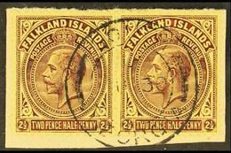 SOUTH GEORGIA 1921-28 KGV 2½d Deep Purple/pale Yellow, Horizontal Pair On Small Piece Tied By South Georgia Cds, SG Z39. - Islas Malvinas