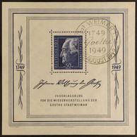 SOVIET ZONE GENERAL ISSUES 1949 (22 Aug) 50pf (+DM 4.50) Ultramarine Goethe Festival Week Perf Miniature Sheet, Michel B - Unclassified