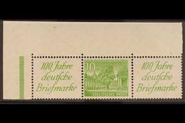 1949 Label+10pf+label Buildings Horizontal SE-TENANT STRIP, Michel W10, Superb Never Hinged Mint Top Left Corner Example - Unclassified