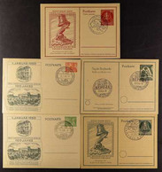 ILLUSTRATED POSTCARDS 1950 8pf & 10pf Centenary (Michel P 10/11), 1951 10pf 'Europa-Zuges' (Michel P 25), 1951 10pf Stam - Unclassified