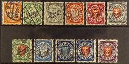 "OFFICIALS 1924-25 ""Dienstmarke"" Overprints Complete Set (Michel 41/51, SG O195/205), Very Fine Cds Used, Fresh. (11 Stam - Danzig"