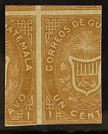 1871 1c Ocher PRINTED ON BOTH SIDES IMPERF Variety (Scott 1b, SG 1b), Very Fine Unused No Gum, Very Fresh For More Image - Guatemala