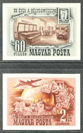 1950 Hungarian Philatelic Museum 60f Postage And 2Ft Air Set, Scott 870 & C68, IMPERF, Never Hinged Mint. (2 Stamps) For - Unclassified