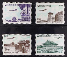 1962-63 Air Post Complete New Currency Set, No Watermark On Plain Paper, Scott C27/C30 Or SG 454/457, Never Hinged Mint. - Corea Del Sur