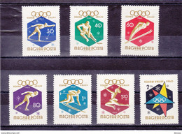 HONGRIE 1960 JEUX OLYMPIQUES DE SQUAW VALLEY Yvert 1353-1359 NEUF** MNH - Unused Stamps
