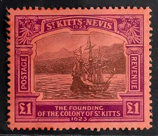 1923 £1 Black And Purple On Red Tercentenary Of The Colony, SG 60, Mint, Some Minor Gum Disturbance Otherwise Fine. For  - St.Kitts And Nevis ( 1983-...)