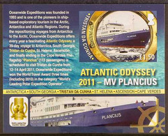 2011 IMPERF PROOF £1.50Atlantic Odyssey (Voyages To Antarctica) Miniature Sheet, SG MS1021, IMPERF PROOF On Gummed Pape - Tristan Da Cunha