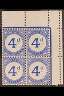 "POSTAGE DUE 1957 4d Ultramarine, ""BROKEN D"" Variety, SG D4/D4a, Corner Block Of 4 With Varieties On Both Left Hand Stamp - Tristan Da Cunha"
