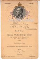 Speisekarte/Menu Deinhard Kaiser (Wilhelm II.)-Geburtstags-Essen 1913 Hotel Post Plettenberg - Menú