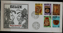 BELIZE 1975 FDC MAYA ART MI No 348-52 VF!! - Belize (1973-...)