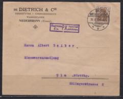 Dt.Reich/Elsass  Firmenbrief Bad Niederbronn/20.9.16 EF 84II Mit Zensur-o Hagenau Els. Nach Ulm - Covers & Documents