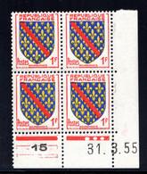YT-N°: 1002 - Blason De BOURBONNAIS, Coin Daté Du 31.03.1955, Galvano A De A+B, 3e Tirage, NSC/**/MNH - 1950-1959