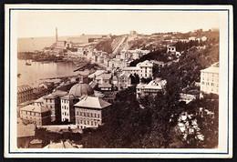 ITALIA GENOVA GENUA WESTSEITE MIT NEUEM LEUCHTTURM FOTO KARTON MANGIAGALLI 1890 - Lieux