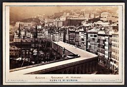 ITALIA GENOVA GENUA TERRAZZO DI MARMO FOTO KARTON MANGIAGALLI 1890 - Lieux