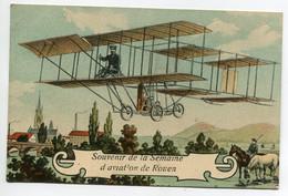 76 ROUEN Souvenir De La Semaine D'Aviateur Aviateur Pilotant Son Aéroplane 1908 Timb   D10 2021 - Rouen