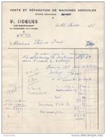 47  Saint QUENTIN DU DROPT Par Castillonnes  FACTURE 1956  Vente Réparation MAChines Agricoles P. ROQUES  - Y2 - 1950 - ...