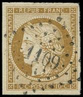 EMISSION DE 1849 - 1    10c. Bistre-jaune Obl. PC 1109 De DOLE Du JURA, Grandes Marges, TTB. C - 1849-1850 Ceres