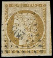 EMISSION DE 1849 - 1    10c. Bistre-jaune, Belles Marges, Obl. PC 295 De BAYONNE, TB - 1849-1850 Ceres